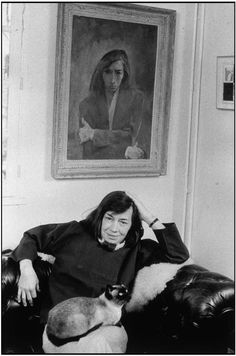 """Patricia Highsmith, author of the famous """"Ripley"""" books and other high style psychological thrillers,with her Siamese cat."""