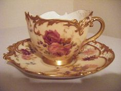 Superb Royal Worcester Ivory Blush Cabinet Cup and Saucer |