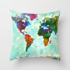 Buy Abstract Map of the World by Gary Grayson as a high quality Throw Pillow. Worldwide shipping available at Society6.com. Just one of millions of…