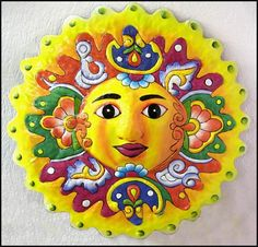 """Hand Painted Metal Sun Art, Yellow Painted Metal Wall Decor - Outdoor Garden Decor, Steel Drum Haitian Art - 34"""" - M-109-YL-34 by TropicAccents on Etsy"""