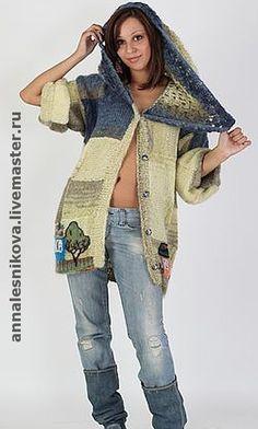 """Купить Жакет летний """"Домики"""" с капюшоном - вязание спицами, жакет, вязаный жакет, авторская работа"""