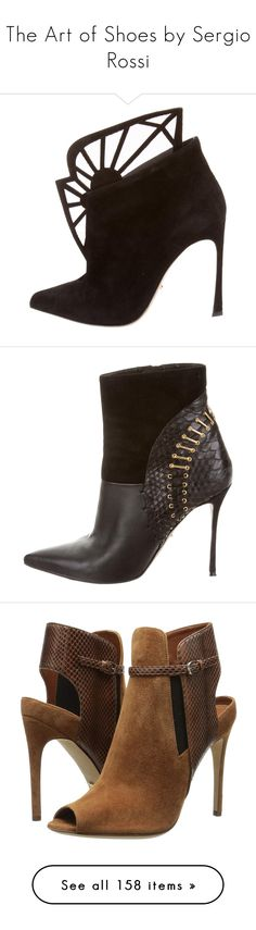 """""""The Art of Shoes by Sergio Rossi"""" by theranna on Polyvore featuring collection, fashionblogger, SergioRossi, shoes, boots, ankle booties, black, cutout booties, suede booties and black pointed toe boots"""