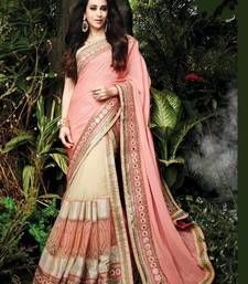 Buy baby pink designer embroidered net and chiffon half and half saree with blouse bollywood-saree online