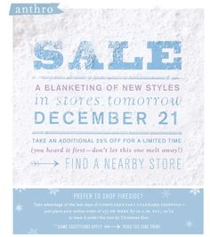 Anthropologie Sale Email Marketing