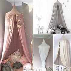 Kids Baby Bed Canopy Bedcover Mosquito Net Curtain Bedding Dome Tent Cotton UK | eBay