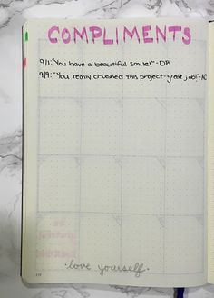 Bullet journal compliments log - part of my self care routine!
