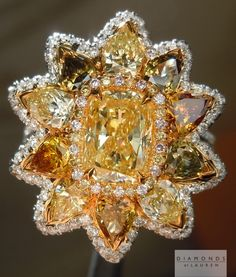 This is an amazing multicolored diamond ring featuring a Fancy Yellow Cushion Cut diamond Glitter Rocks, Yellow Diamond Rings, Coin Ring, Cushion Cut Diamonds, Diamond Are A Girls Best Friend, Cocktail Rings, Beautiful Rings, Colored Diamonds, Brooches