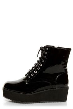 Black Patent Platform Combat Boots