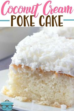 Easy Coconut Cream Poke recipe from The Country Cook Cake Filling Recipes, Dessert Recipes, Desserts, Poke Recipe, Cake Mix Ingredients, Lemon Garlic Chicken, Savarin, Box Cake Mix, Salty Cake