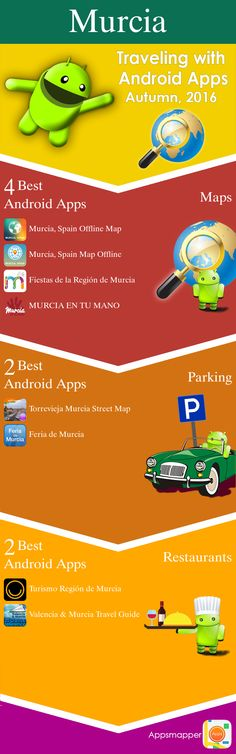 Murcia Android apps: Travel Guides, Maps, Transportation, Biking, Museums, Parking, Sport and apps for Students.