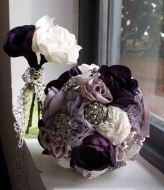 Purple fabric flower bouquet Brooch bouquet by Innstyches on Etsy, £225.00