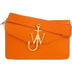 Jw Anderson Anchor logo leather shoulder bag (£630) ❤ liked on Polyvore featuring bags, handbags, shoulder bags, leather shoulder handbags, leather flap purse, real leather handbags, orange handbags and orange leather purse
