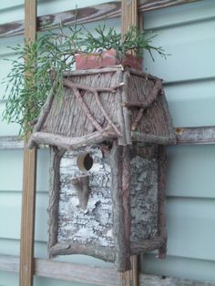 All Natural Bird house can hold a small planter! <3