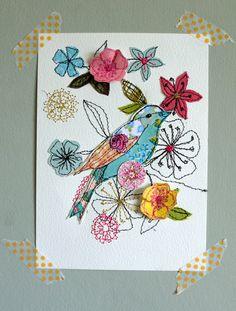 Blossom - mixed media original artwork, more beautiful work, Amanda Wood Designs