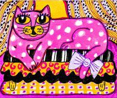 Kat Print roze kat Art grappige kat Art Polka door AGirlAnOwlAndACat