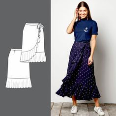 Wrap round skirt with flounce - Stoff & Stil Trend Fashion, Diy Fashion, Diy Clothing, Sewing Clothes, Diy Vetement, Make Your Own Clothes, Skirt Patterns Sewing, Skirts, Outfits
