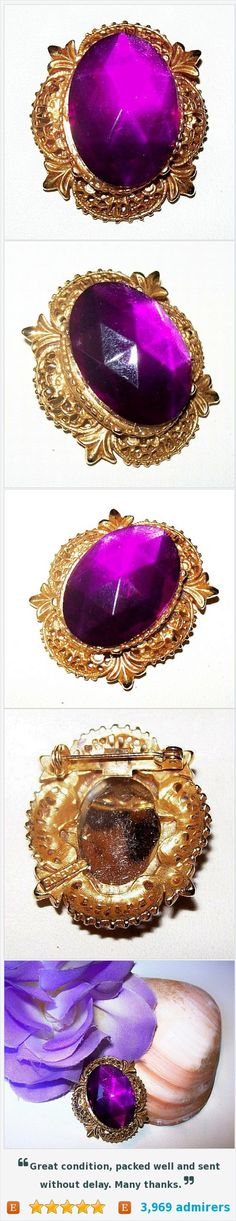 "Florenza Brooch Purple Art Glass Faceted Rhinestone Gold Filigree Metal 2"" Vintage https://www.etsy.com/listing/270332228/"