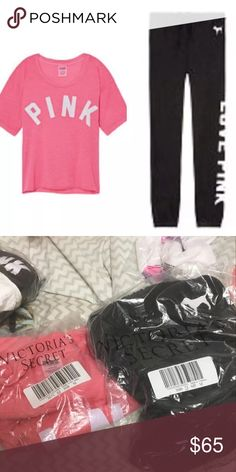 Victoria's Secret pink shirt and joggers Both are new in packaging size medium. The shirt is the shrunken campus tee and the pants are the classic joggers. 44 PINK Victoria's Secret Tops Tees - Short Sleeve