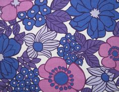 fondos Vintage Fabric Retro Fab Flower by NiceworkByTheYard 60s Patterns, Vintage Patterns, Fabric Patterns, Flower Patterns, Vintage Designs, Print Patterns, Retro Flowers, Vintage Flowers, Retro Floral