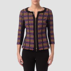 Joseph Ribkoff's collarless jacket comes with metallic accents at the inner of the rounded neckline as well as front-zip closure, multicolored design with solid high-contrast piecing and full-length sleeves. Collarless Jacket, Jacket Style, Zip, Sleeves, Sweaters, Polyvore, Jackets, Black, Fashion