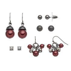 Croft & Barrow® Stud & Raspberry Beaded Drop Earring Set, Red