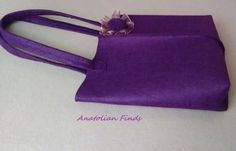 Felt Handbag- casual bag, handmade, top handle, purple, strong, fashion, everyday use, gift for her, mothers day, weekend by AnatolianFinds on Etsy