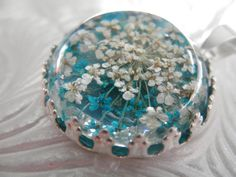 Turquoise & White Queen Anne's Lace Atop by giftforallseasons
