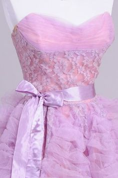 1950's Lilac Tulle and Lace Strapless Vintage Evening Gown : Mill Crest Vintage