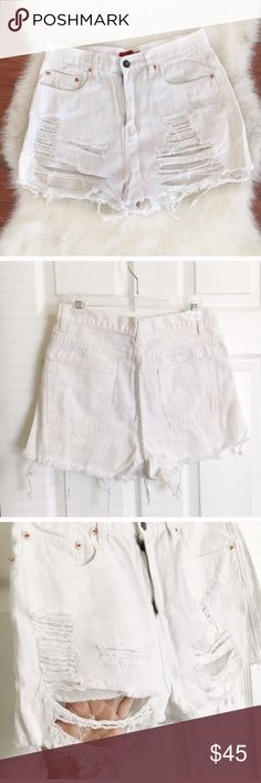 White denim cut off shorts White denim cut off shorts signature 8 Shorts Jean Shorts