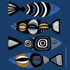 Fish Patterns, Doodle Patterns, Posca Art, Fish Design, Fish Art, Retro Art, Modern Art, Cool Art, Art Projects