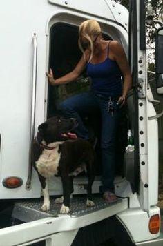 A trucker pet. (Karen and her dog, from Australia.)