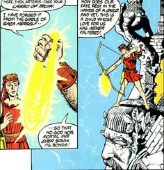 Wonder Woman gods Artemis gets the Golden Magic Lasso of Truth from Hephaestus and shoots it to the Amazons via arrow