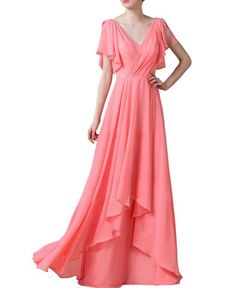 Cap Sleeve Princess V-neck Floor-Length Chiffon Coral Bridesmaid Dress With  Cascading Ruffles 51a0becf94af
