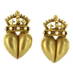 1STDIBS.COM Jewelry & Watches - Barry Kieselstein Cord - BARRY KIESELSTEIN- CORD Crown Heart Diamond Clip Earrings - Hollis Reh and Shariff