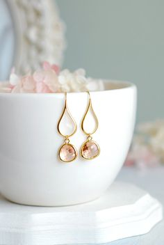 Peach Champagne Dangle Earrings Glass Drop Earrings by LeChaim