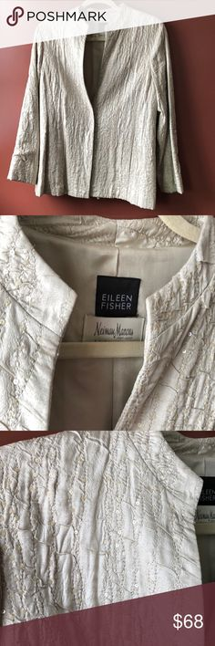 """Eileen Fisher for Neiman Marcus Sequined Blazer This silk jacket has just the right amount of pizzazz to liven up a dressy or casual outfit with style.  Great condition!    Tag actually says S, but I""""d consider it S/M or petite medium.    All items in my closet come from a smoke-free & pet-free home. Eileen Fisher Jackets & Coats Blazers"""