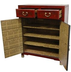 "Classic Asian Furniture & Décor - 38"" Red Lacquer Two Drawer Oriental Shoe Cabinet: Home & Kitchen"