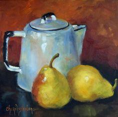 Pintura de naturaleza muerta de pera, las peras amarillo y esmalte blanco cafetera, arte de la lona, pintura al óleo Original por Cheri Wollenberg