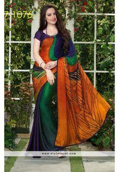 Mindblowing Multicolor Party Wear Printed Saree