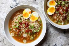 18 Ramen recipes worth trying. Pictured above: Homemade Ramen With Bacon and Soft-Boiled Eggs Ramen Recipes, Asian Recipes, Cooking Recipes, Healthy Recipes, Ethnic Recipes, Noodle Recipes, Japanese Recipes, Healthy Dishes, Healthy Ramen