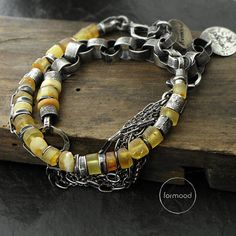 """Two Bracelets  set 20% off  sterling silver and by studioformood """"Bracelet is made of oxydized and rubbed silver 925, and ambers approx. 5-8 mm (0,20 - 0,31 inches) in diameter. This one of a kind chain is handmade, the whole bracelet is fastened with comfortable and safe clasp. The whole length: 21,5 cm (8.46 inches), adjustable circuit - max. up to 19 cm (7.48 inches)."""" Price: $140.00 USD"""