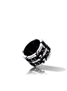 CHANEL - Bague Ultra en or blanc 18 carats, céramique noire et diamants. Grand modèle. Ultra