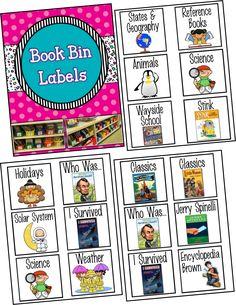 Class Library Book Bin Labels