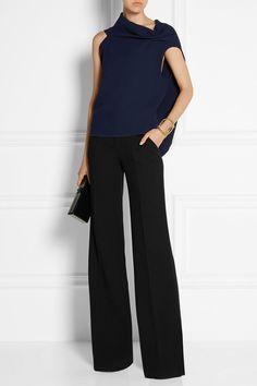 Roland Mouret | Lucanus wool-crepe wide-leg pants | NET-A-PORTER.COM, $1055, silk lining, high rise