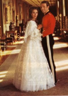 HRH Princess Anne and her husband, Captain Mark Phillips, on their wedding day, November 14, 1973