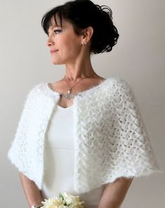 This item is unavailable Crochet Capelet Pattern, Poncho Au Crochet, Knitted Cape, Crochet Blouse, Crochet Lace, Wedding Cape, Bridal Cape, Wedding Shawl, Bridesmaid Shawl