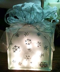 Snowflake lighted glass block.  Check out my custom made lighted glass blocks at my Etsy store IrwinRags!https://www.etsy.com/shop/IrwinRags