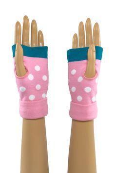 Pink/Teal Blue Round Dot Printed Wrist Length Fingerless Gloves