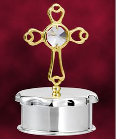 24 Kt gold plated Cross Trinket Box studded with swarovski crystals. http://www.tajonline.com/christmas-gifts/product/hge11/24-kt-gold-plated-cross-trinket-box-studded-with-swarovski-crystals/?aff=pint2013/