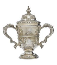 A George II Colonial West Indies silver twin handled cup and cover, Jamaican circa 1750 by Charles Allan (active circa assay master Anthony Danvers (active from dies West Indies, Colonial, Twins, Cover, Gemini, Twin